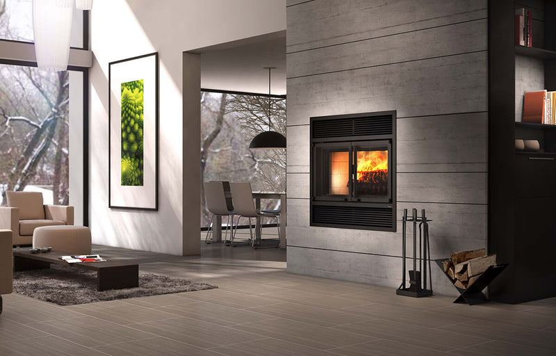Valcourtinc FP2 Beaumont - Wood Fireplace Modern Style Folding Doors