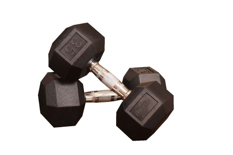 Progression Fitness Dumbbell Rubber Hex