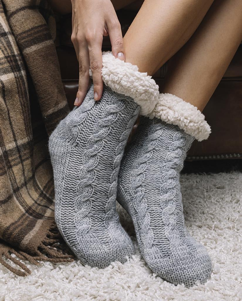 Knitted Long Slipper Socks- Grey