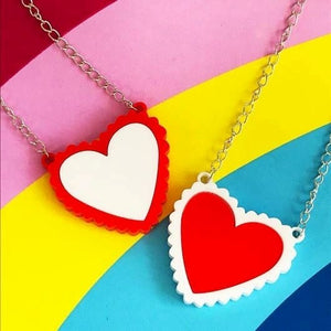 Scalloped Heart Acrylic Necklace