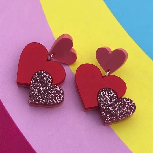 Trio of Hearts Acrylic Earrings