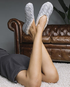 Knitted Ballet Slipper Socks- Grey