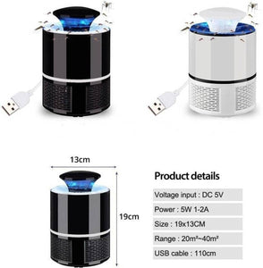 Electric Mosquito Killer with Trap Lamp, Chemical-Free USB Powered UV LED Light