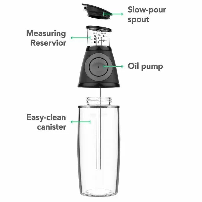 Oil Or Vinegar Dispenser Just Press and Measure(500 Ml,Transparent Glass)