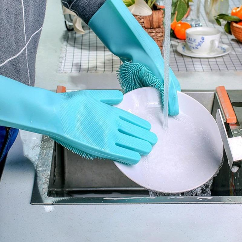 Microfiber Silicon Cleaning Gloves