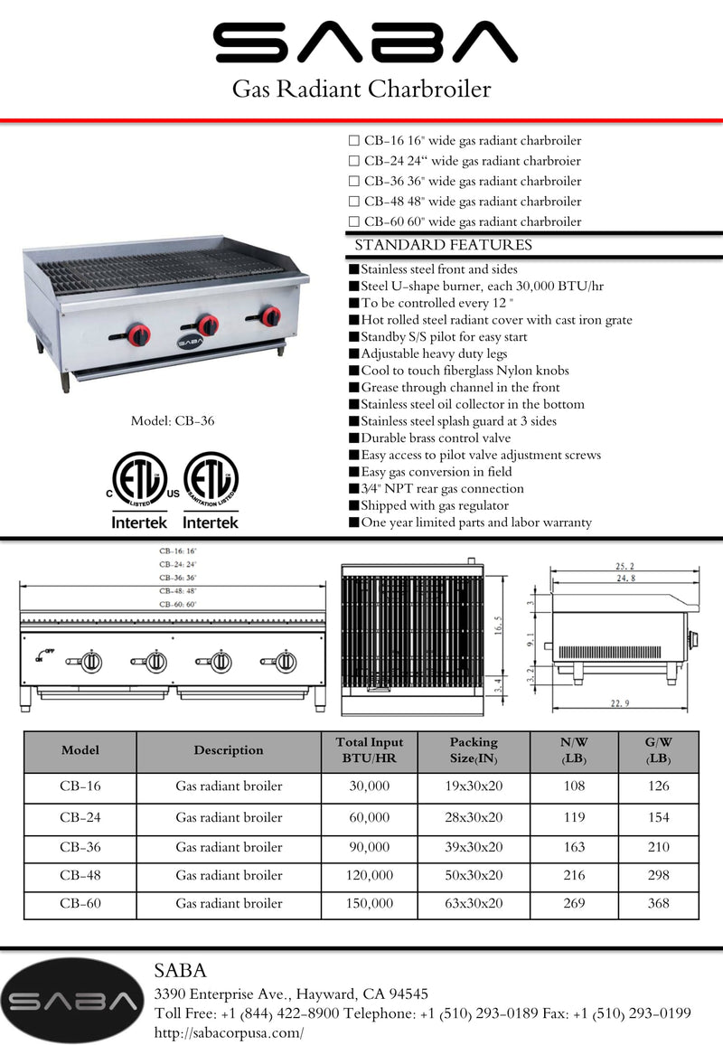 SABA CB-60 - Commercial Gas Radiant Broiler Specs