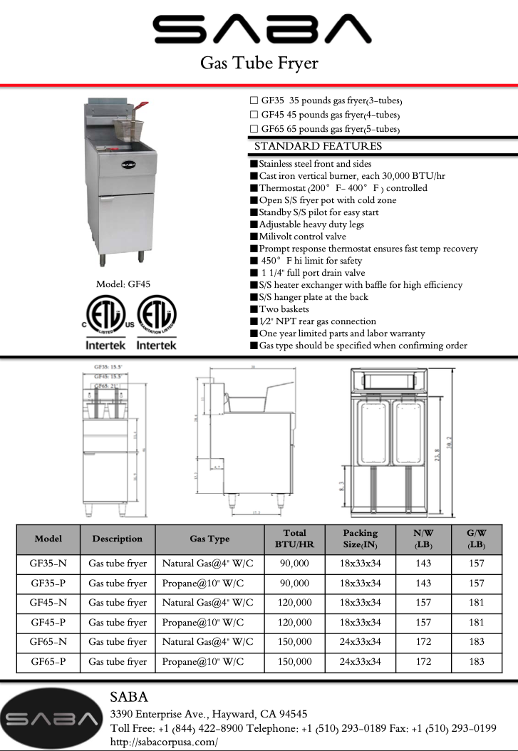 SABA GF45-N - Commercial Gas Fryer (Natural Gas) Specs