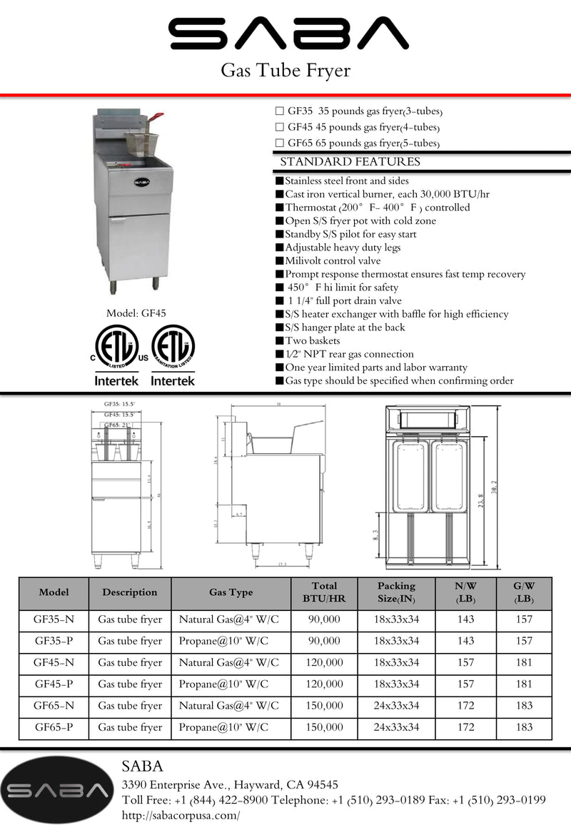 SABA GF45-P - Commercial Gas Fryer (Liquid Propane) Specs