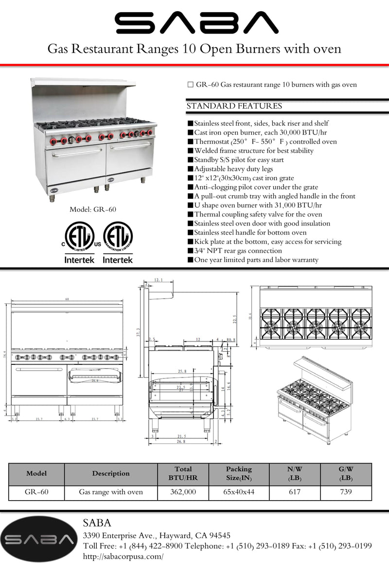 SABA GR-60 - Commercial Gas 10 Burner with Oven Specs