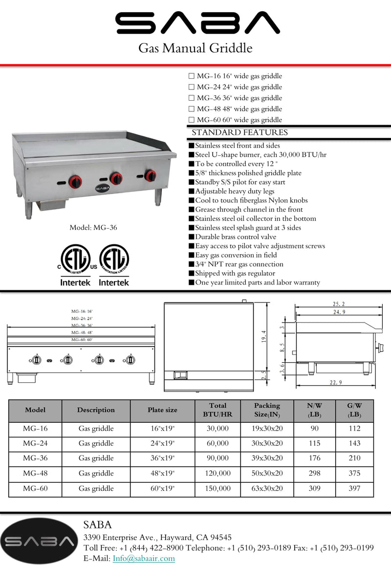 SABA MG-24 - Commercial Manual Griddle Specs