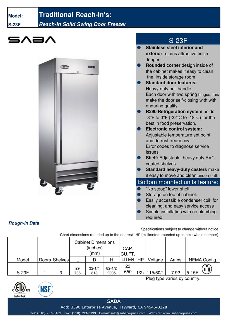 SABA S-23F - One Door Commercial Reach-In Freezer Specs