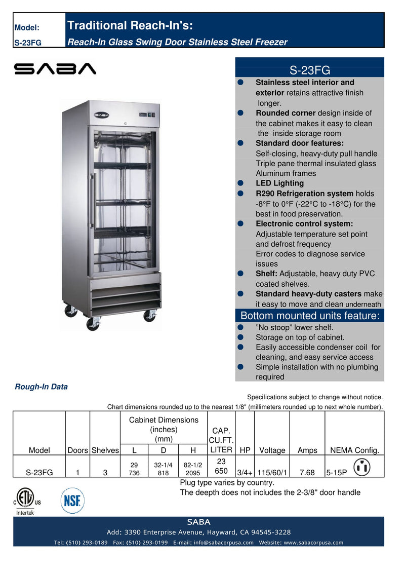 SABA S-23FG - One Glass Door Commercial Reach-In Freezer Specs
