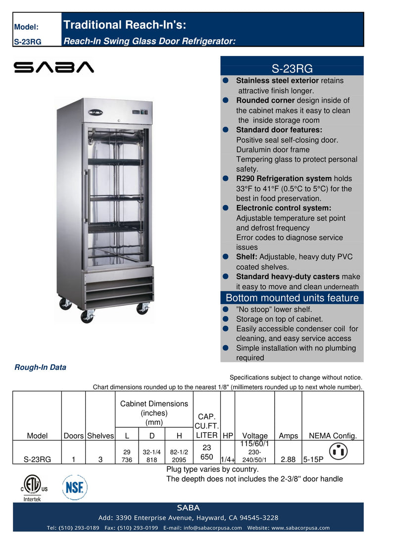 SABA S-23RG - One Glass Door Commercial Reach-In Cooler Specs
