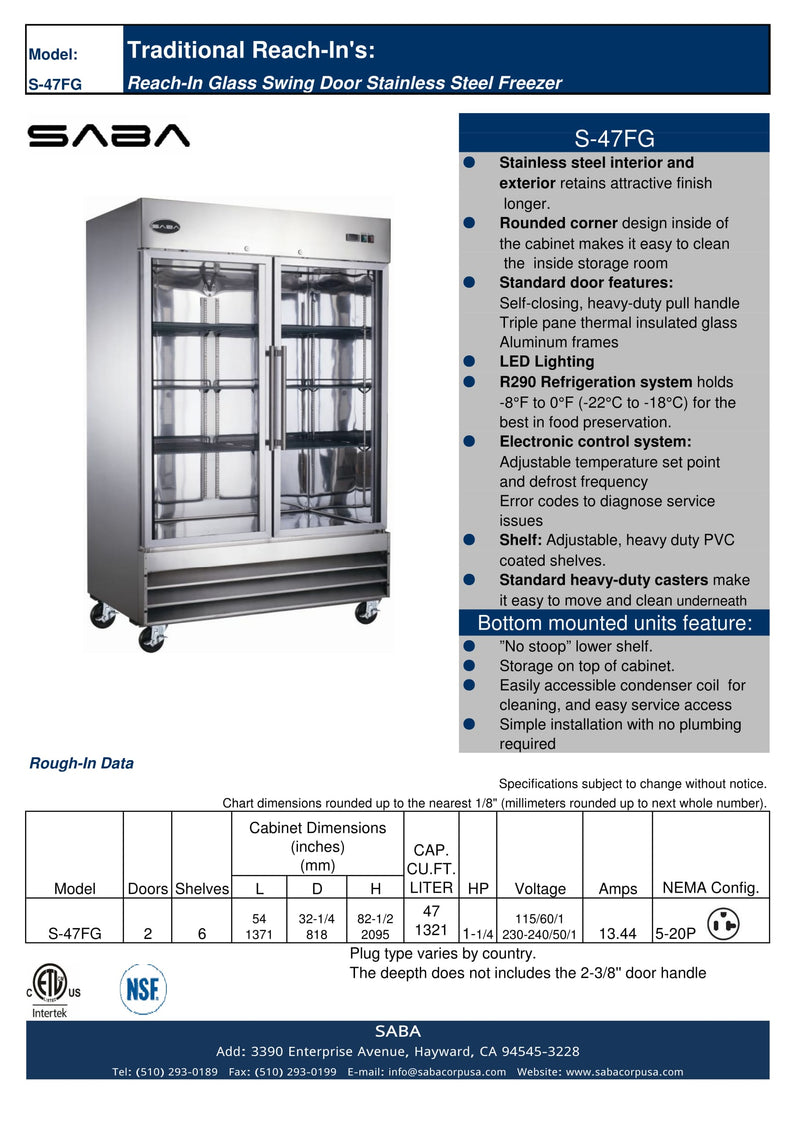 SABA S-47FG - Two Glass Door Commercial Reach-In Freezer Specs