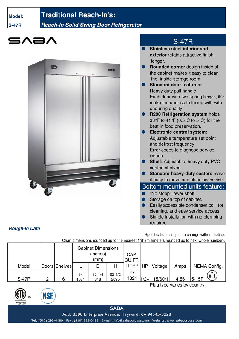 SABA S-47R - Two Door Commercial Reach-In Cooler Specs