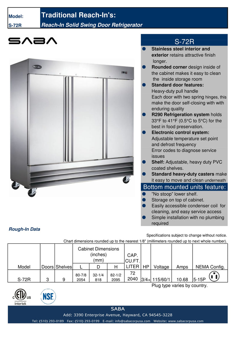 SABA S-72R - Three Door Commercial Reach-In Cooler Specs