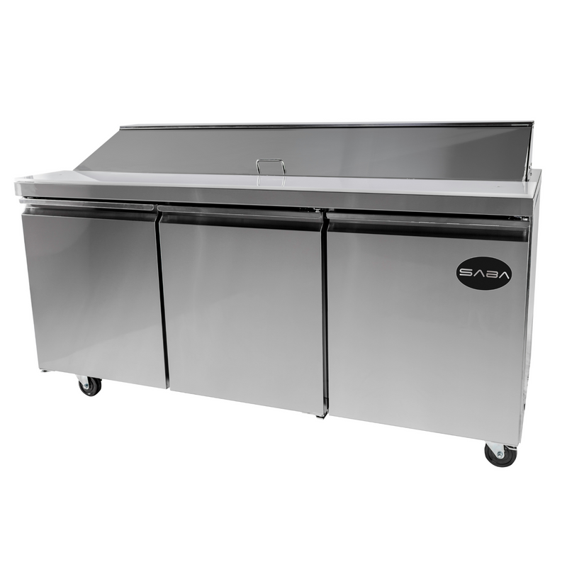 "SABA SPS-72-18 - 72"" Three Door Commercial Sandwich Prep Table with 18 Pans"