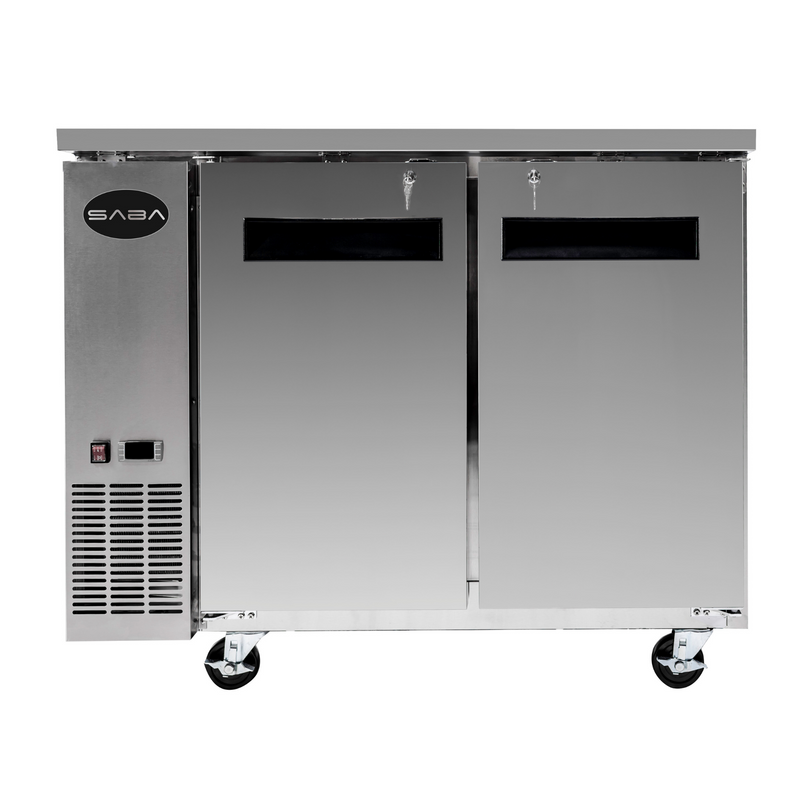 "SABA SBB-24-48SS - 24"" Depth 48"" Two Door Commercial Back Bar Cooler (Stainless Steel)"