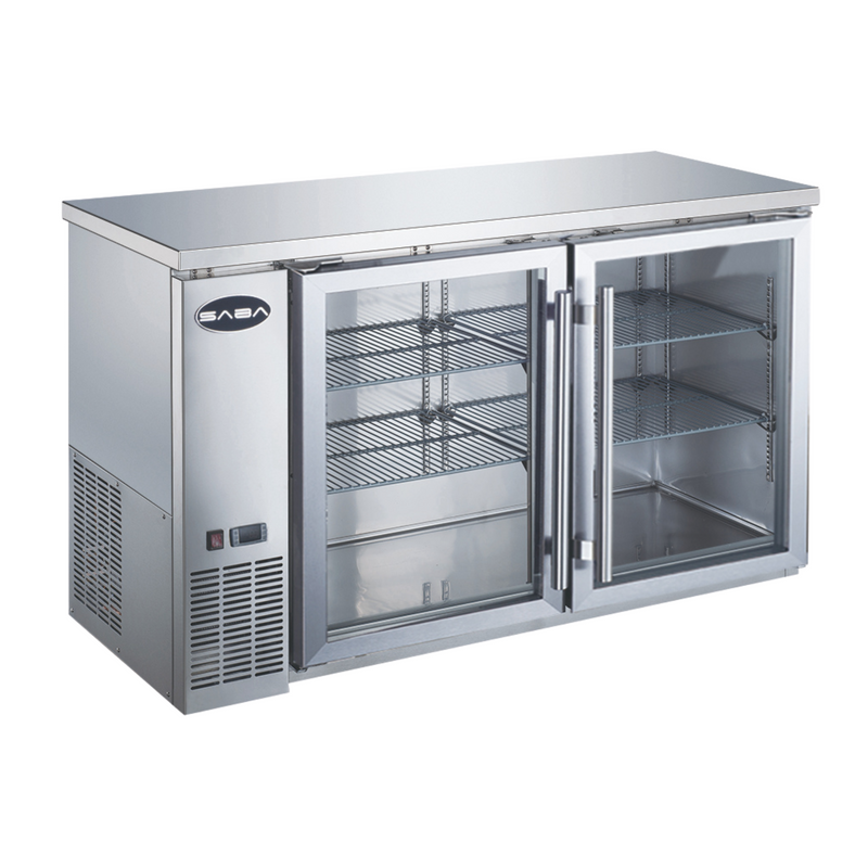 "SABA SBB-24-60GSS - 24"" Depth 60' Two Glass Door Commercial Back Bar Cooler (Stainless Steel)"