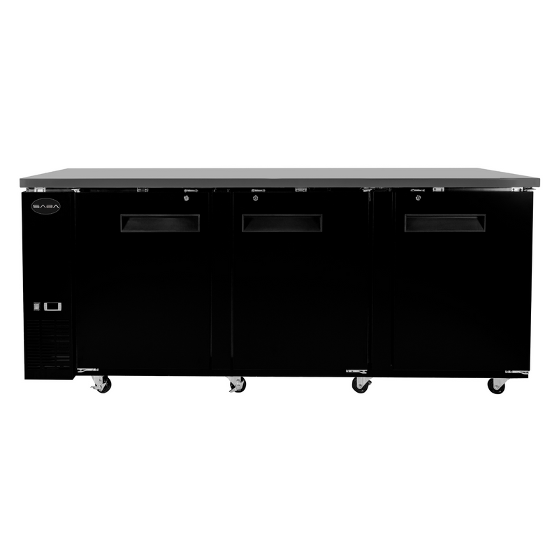 "SABA SBB-24-72B - 24"" Depth 72"" Three Door Commercial Back Bar Cooler (Black)"