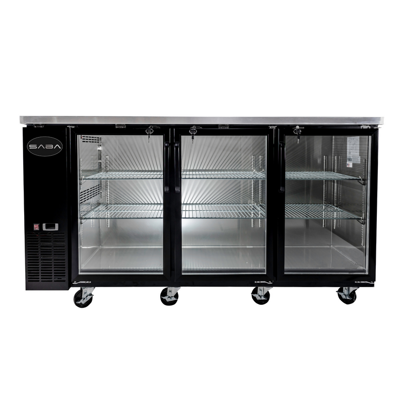 "SABA SBB-24-72G - 24"" Depth 72"" Three Glass Door Commercial Back Bar Cooler (Black)"