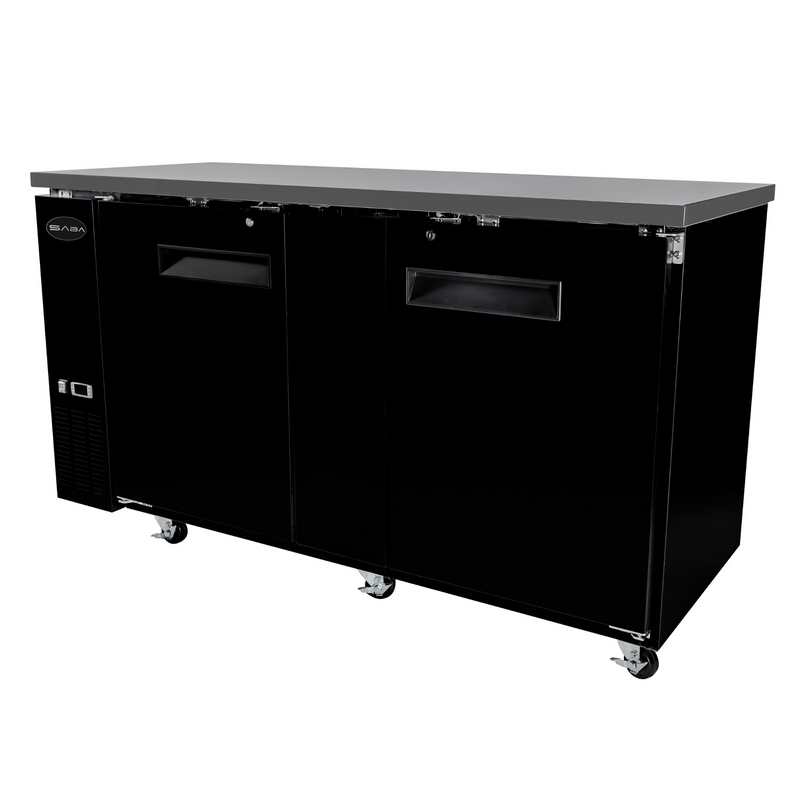 "SABA SBB-27-69B - 27"" Depth 69"" Two Door Commercial Back Bar Cooler (Black)"