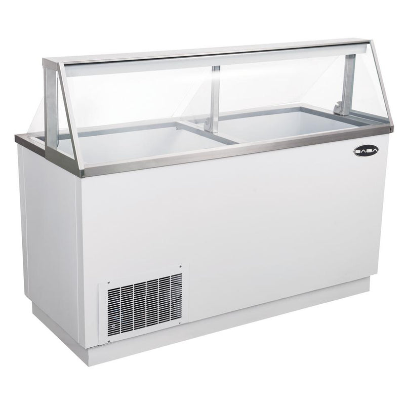 Commercial Chest Freezer Ice Cream Dipping Cabinet Display Case in White