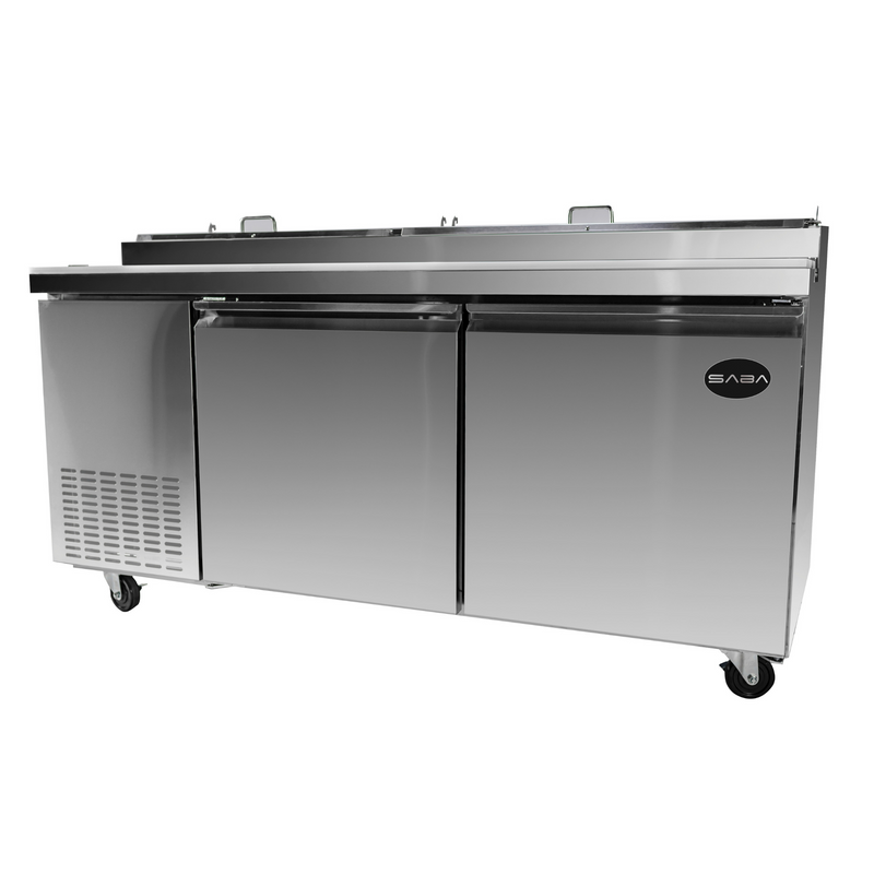 "SABA SPP-67-9 - 67"" Two Door Commercial Pizza Prep Table with 9 Pans"