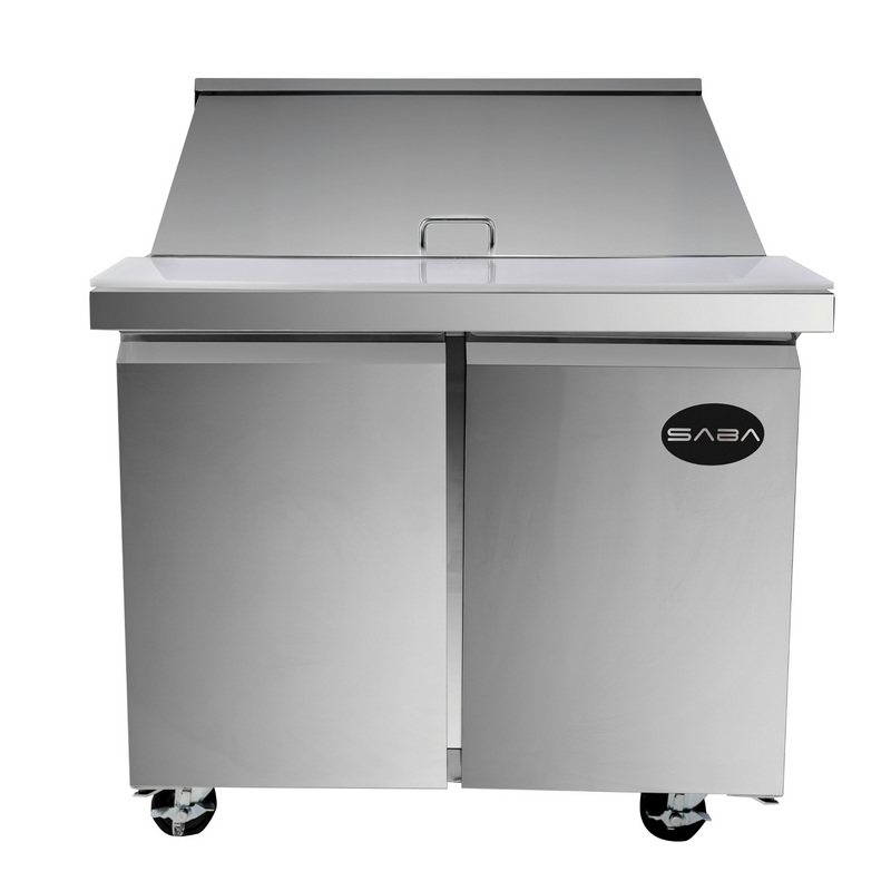 "SABA SPS-36-15M - 36"" Two Door Commercial Mega-Top Sandwich Prep Table with 15 Pans"