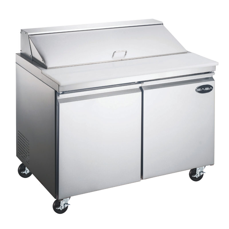 "SABA SPS-48-12 - 48"" Two Door Commercial Sandwich Prep Table with 12 Pans"