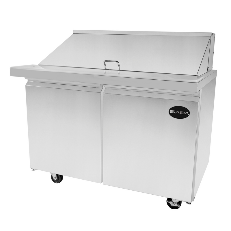 "SABA SPS-48-18M - 48"" Two Door Commercial Mega-Top Sandwich Prep Table with 18 Pans"