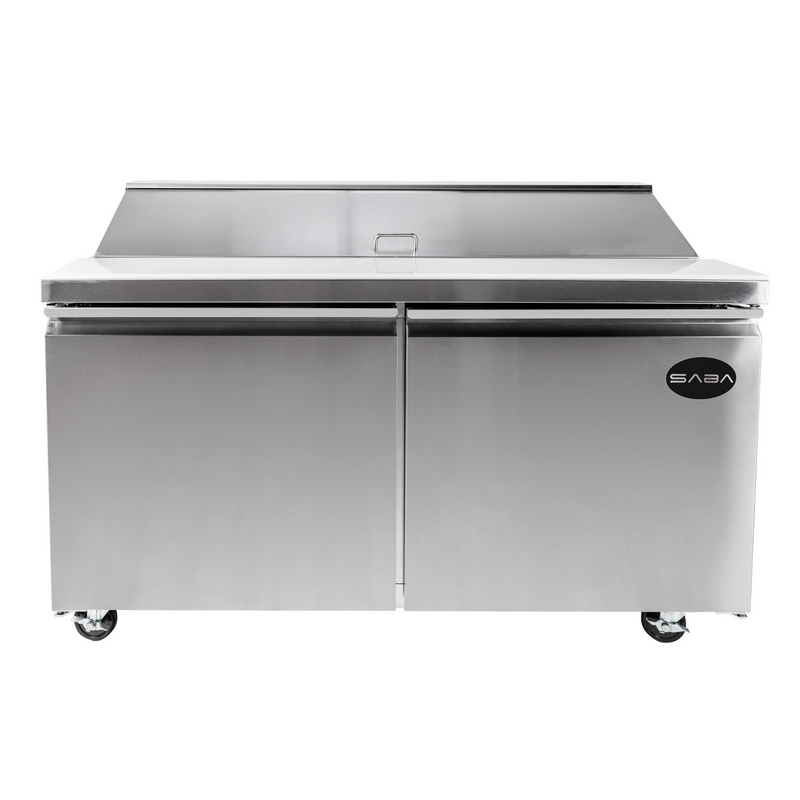"SABA SPS-60-16 - 60"" Two Door Commercial Sandwich Prep Table with 16 Pans"