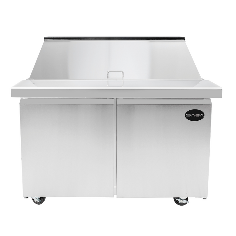 "SABA SPS-60-24M - 60"" Two Door Commercial Mega-Top Sandwich Prep Table with 24 Pans"
