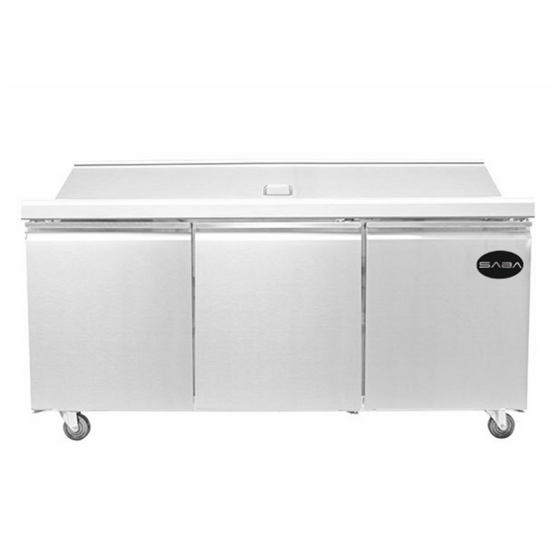 "SABA SPS-72-30M - 72"" Three Door Commercial Mega-Top Sandwich Prep Table with 30 Pans"