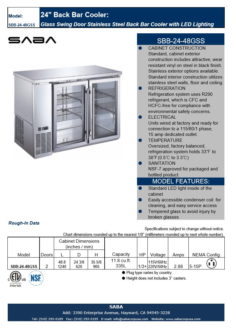 "SABA SBB-24-48GSS - 24"" Depth 48"" Two Glass Door Commercial Back Bar Cooler (Stainless Steel) Specs"