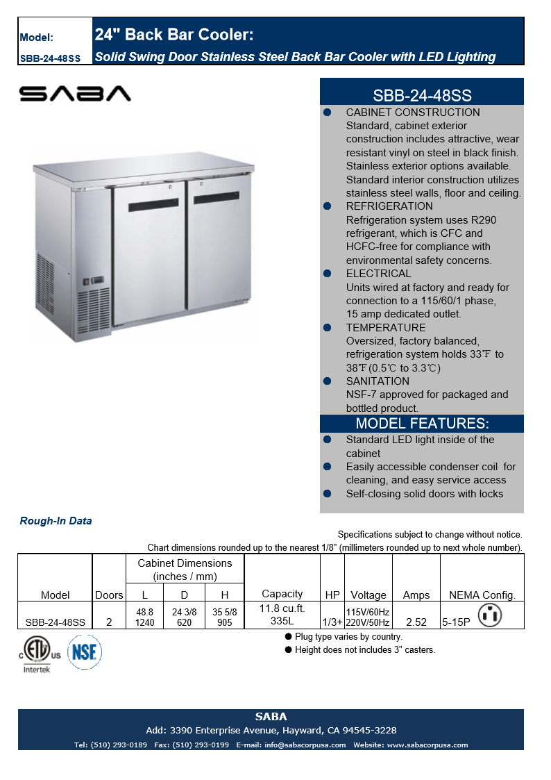 "SABA SBB-24-48SS - 24"" Depth 48"" Two Door Commercial Back Bar Cooler (Stainless Steel) Specs"