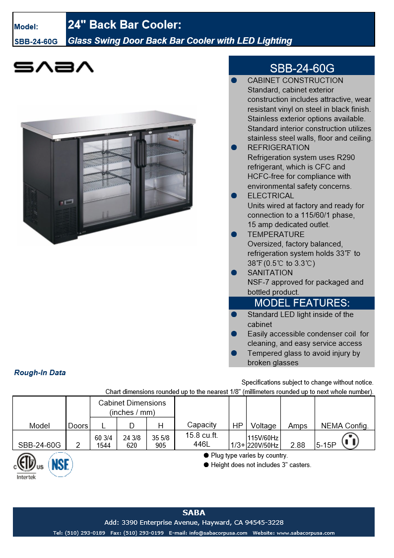 "SABA SBB-24-60G - 24"" Depth 60"" Two Glass Door Commercial Back Bar Cooler (Black) Specs"