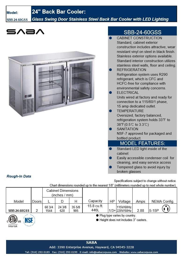 "SABA SBB-24-60GSS - 24"" Depth 60' Two Glass Door Commercial Back Bar Cooler (Stainless Steel) Specs"