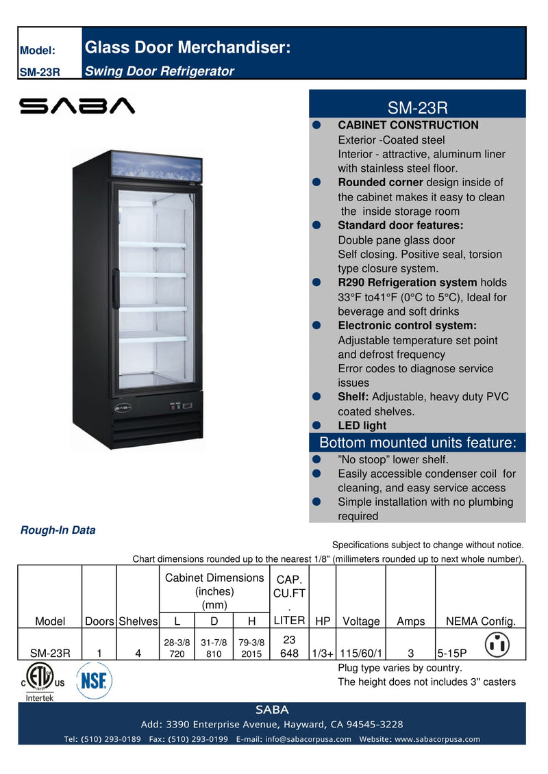 SABA SM-23R - One Glass Door Commercial Merchandiser Cooler Specs
