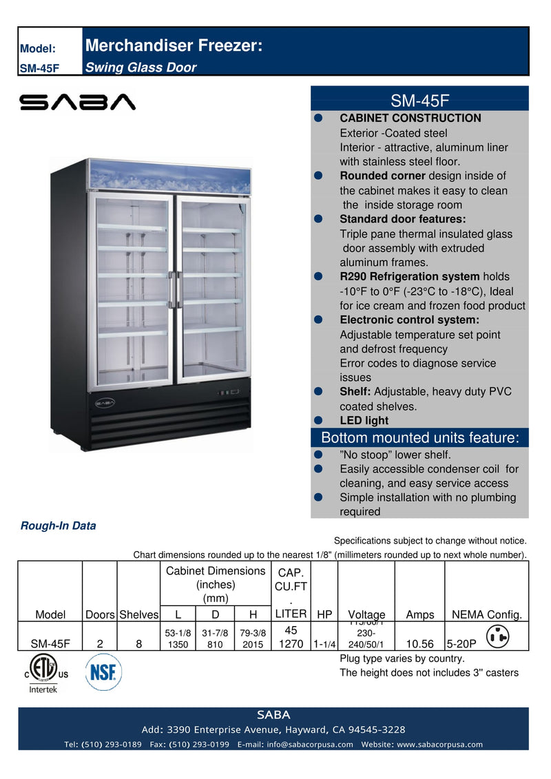 SABA SM-45F - Two Glass Door Commercial Merchandiser Freezer Specs