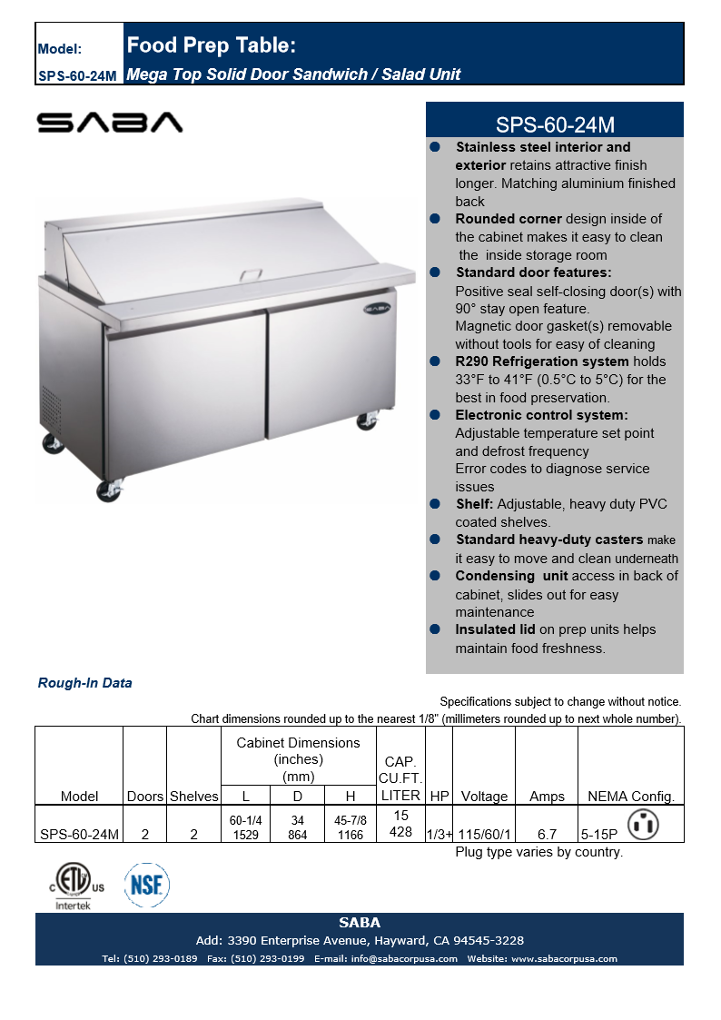 "SABA SPS-60-24M - 60"" Two Door Commercial Mega-Top Sandwich Prep Table with 24 Pans Specs"