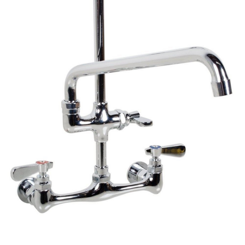 SABA SF1001 - Commercial Pull Down 2-Handle Wall Mount Pre-Rinse Spray Utility Kitchen Faucet