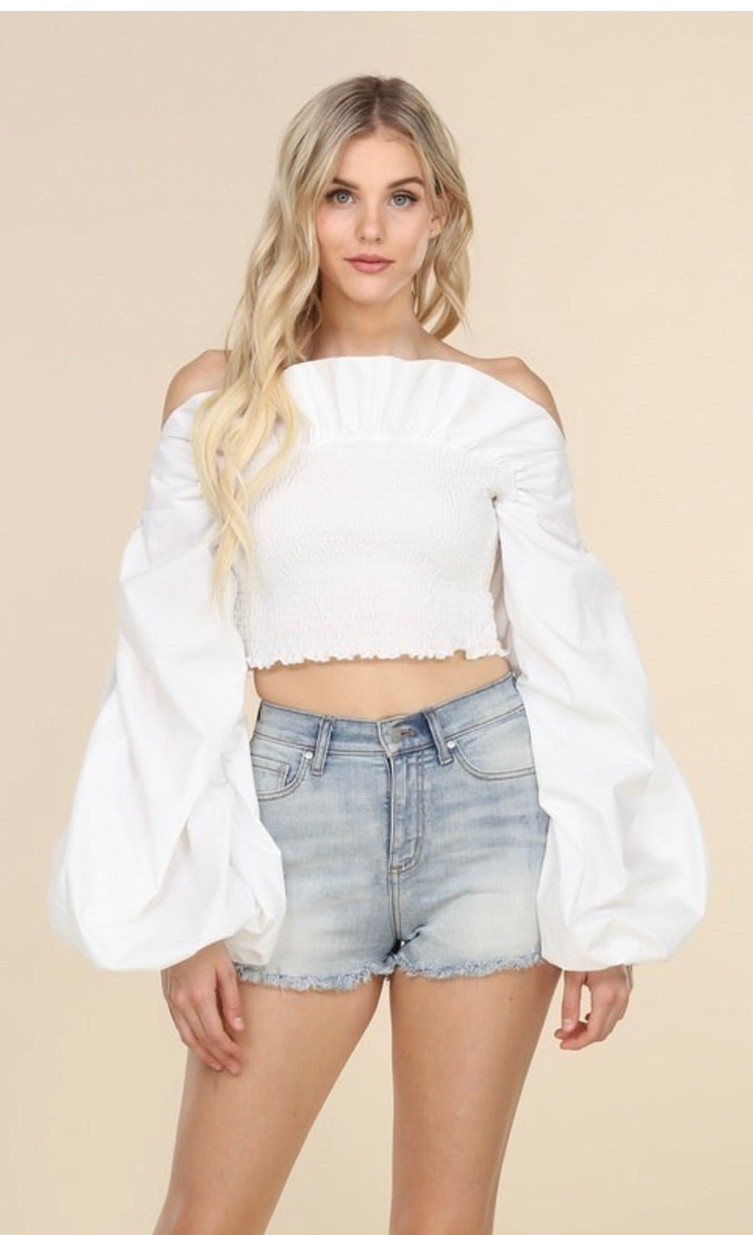 Off the Shoulder Crop Top-White