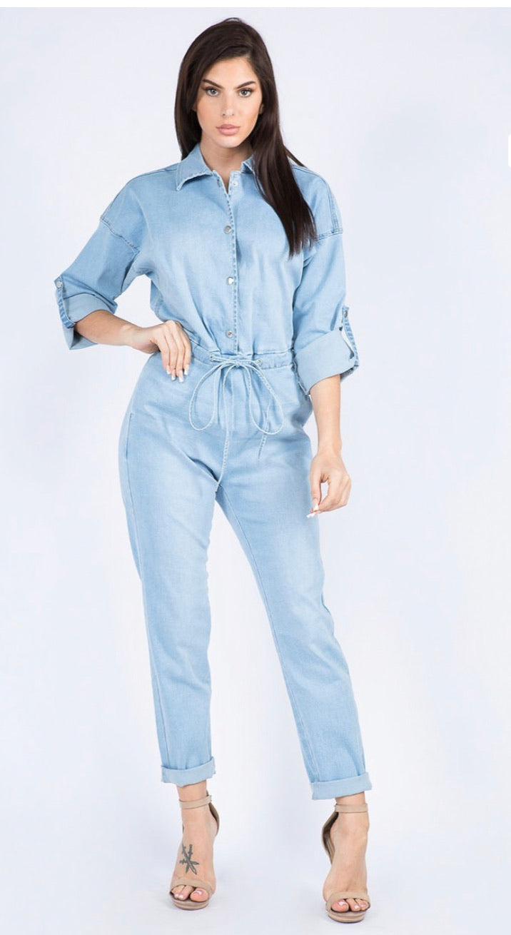 Chains Jumpsuit -Light Wash