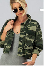 Load image into Gallery viewer, Camo Cropped Denim Jacket