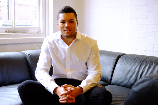 Joe Joyce wearing a Guy Field Bespoke Thomas Mason Poplin Shirt