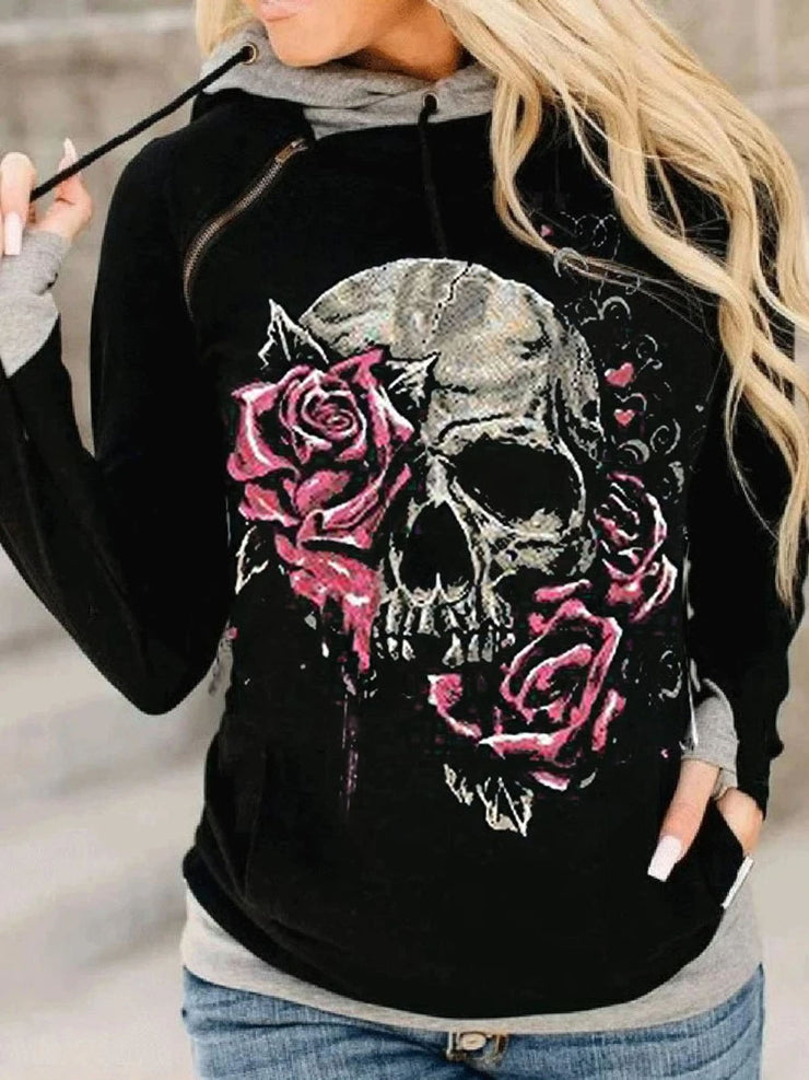 Pure color hooded skull print Halloween casual warm sweater
