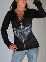 Casual Long Sleeve V Neck Plus Size Tops