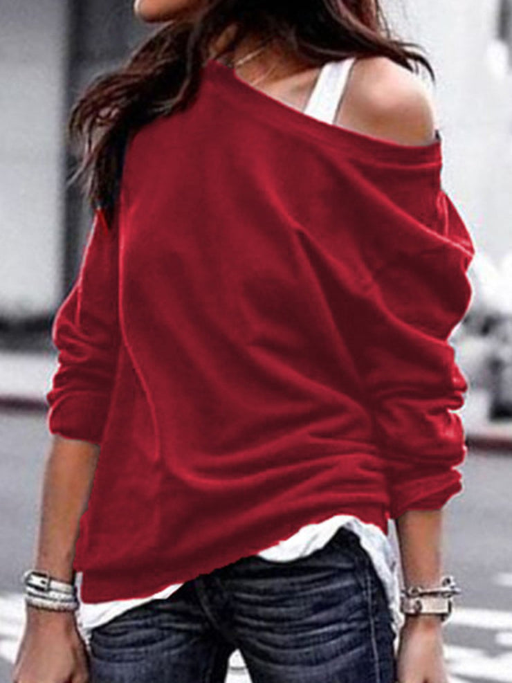 New style One Shoulder Long Sleeve Casual Women's Sweatershirts