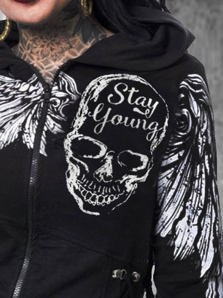 Skull Long Sleeve Cotton-Blend Outerwear